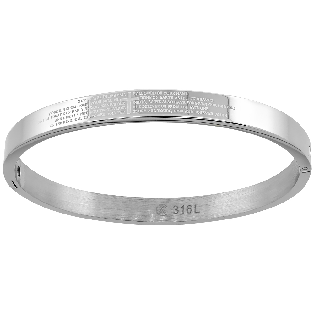 Stainless Steel Lords Prayer Bangle Bracelet for Women Oval High Polish 1/4 inch wide, fits 7 inch wrists