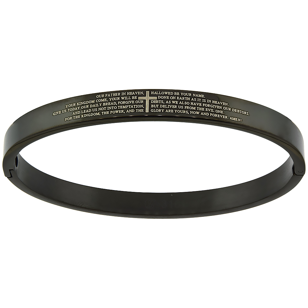 Stainless Steel Lords Prayer Bangle Bracelet For Women Oval Black 1 4 Inch Wide