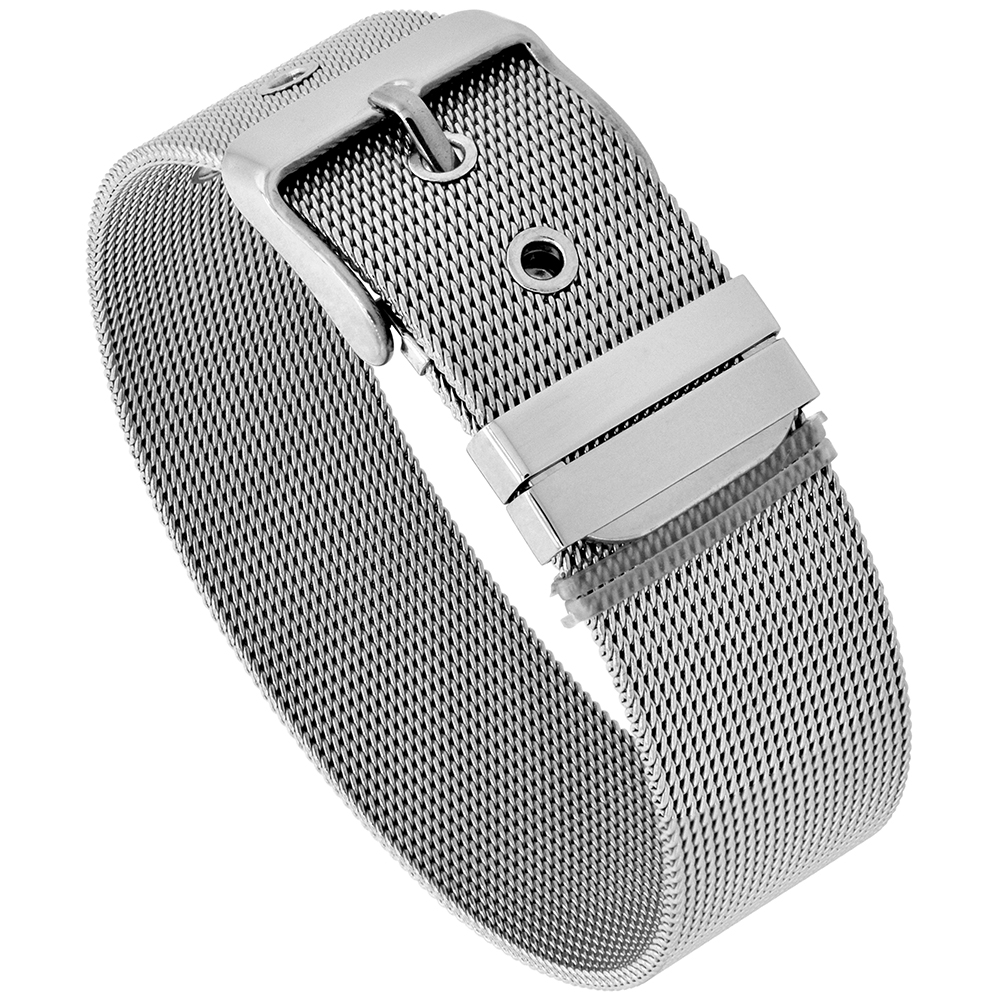 Stainless Steel Mesh Bracelet for Women Belt Buckle Clasp 18 mm wide, fits up to 8 inch wrist