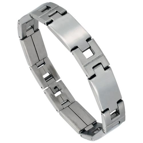 Stainless Steel Large Rectangular Bar Link Bracelet For Men Mirror Finish 1/2 inch wide, 8 inch long