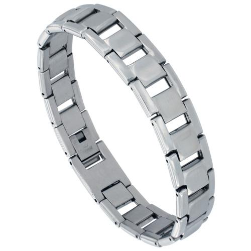 Stainless Steel Rectangular Bar Link Bracelet For Men Mirror Finish 1/2 inch wide, 8 inches long