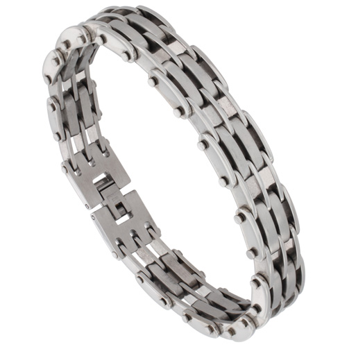 Stainless Steel Bar Bracelet For Men Satin Finish 1/2 inch wide, 8.5 inches long