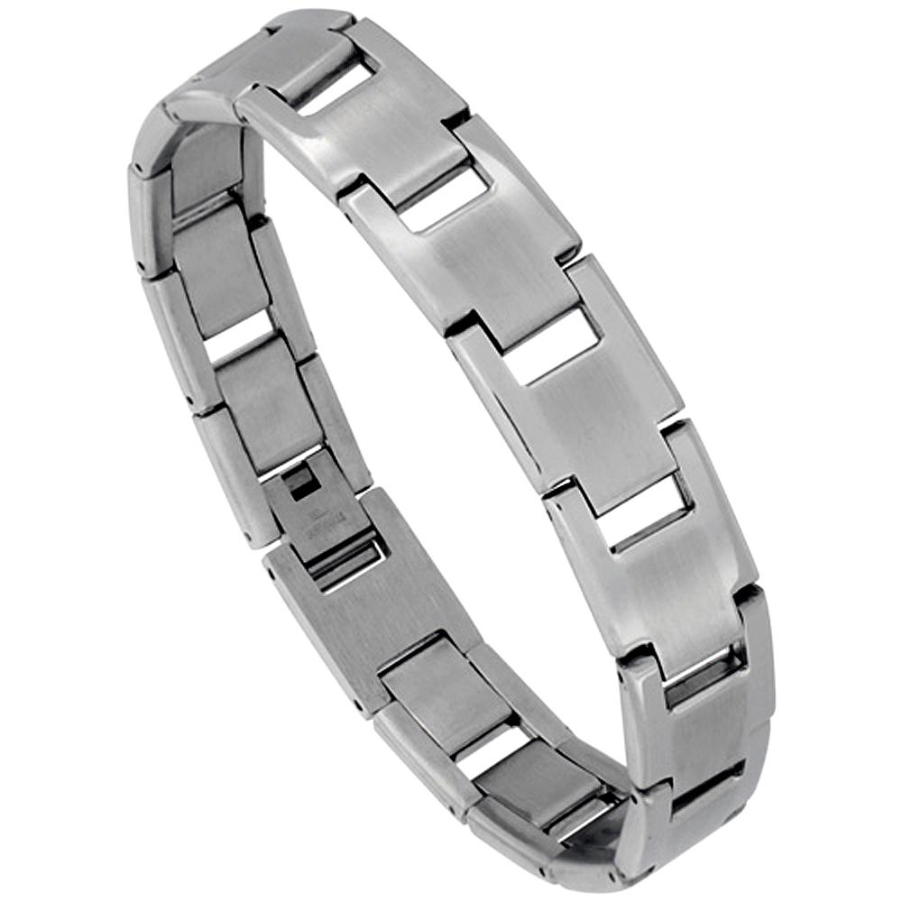 Stainless Steel Rectangular Bar Link Bracelet For Men Matte Center 1/2 inch wide, 8 inches long