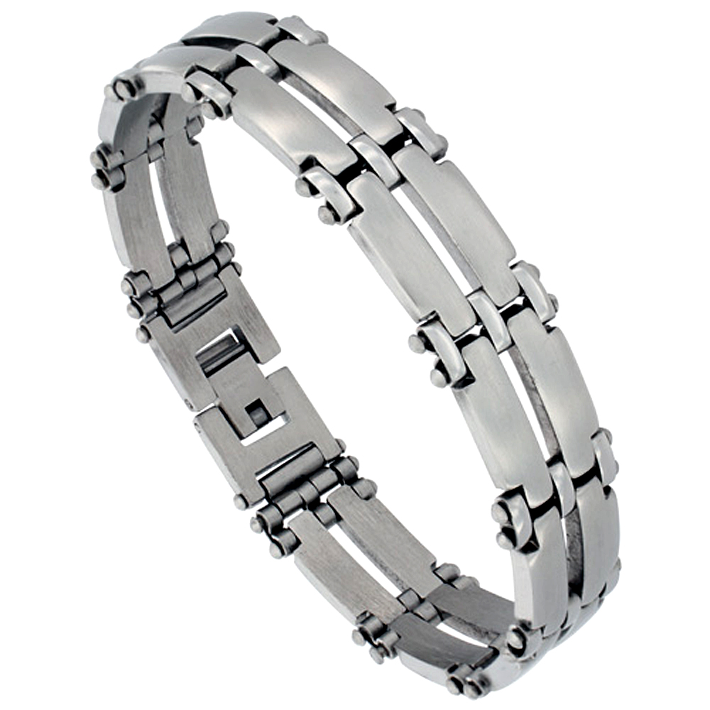 Stainless Steel Double Row Bar Link Bracelet For Men Satin Finish 1/2 inch wide, 8 inches long