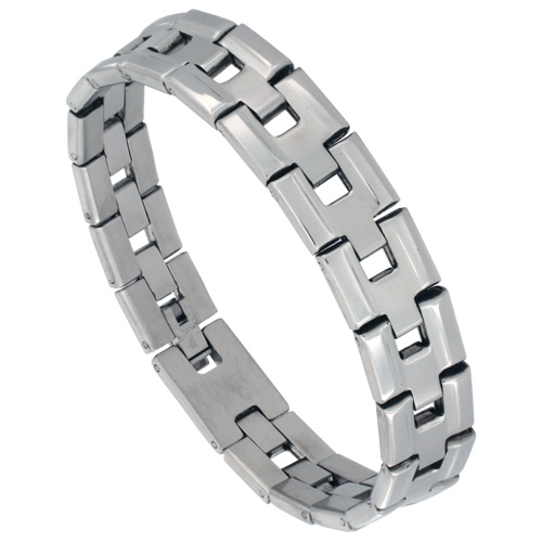 Stainless Steel Bar Link Bracelet For Men High Polish Sides 1/2 inch wide, 8 inches long