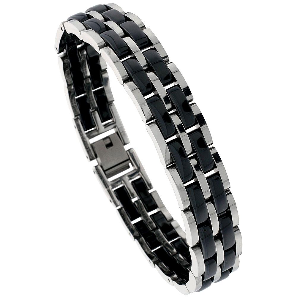 Stainless Steel 2-Tone Magnetic Bar Link Bracelet For Men, 1/2 inch wide