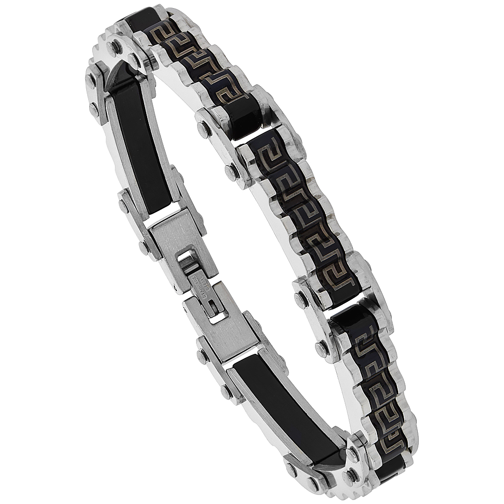 Stainless Steel Greek Key Design Bicycle Chain Bracelet Blackened 7/16 inch wide