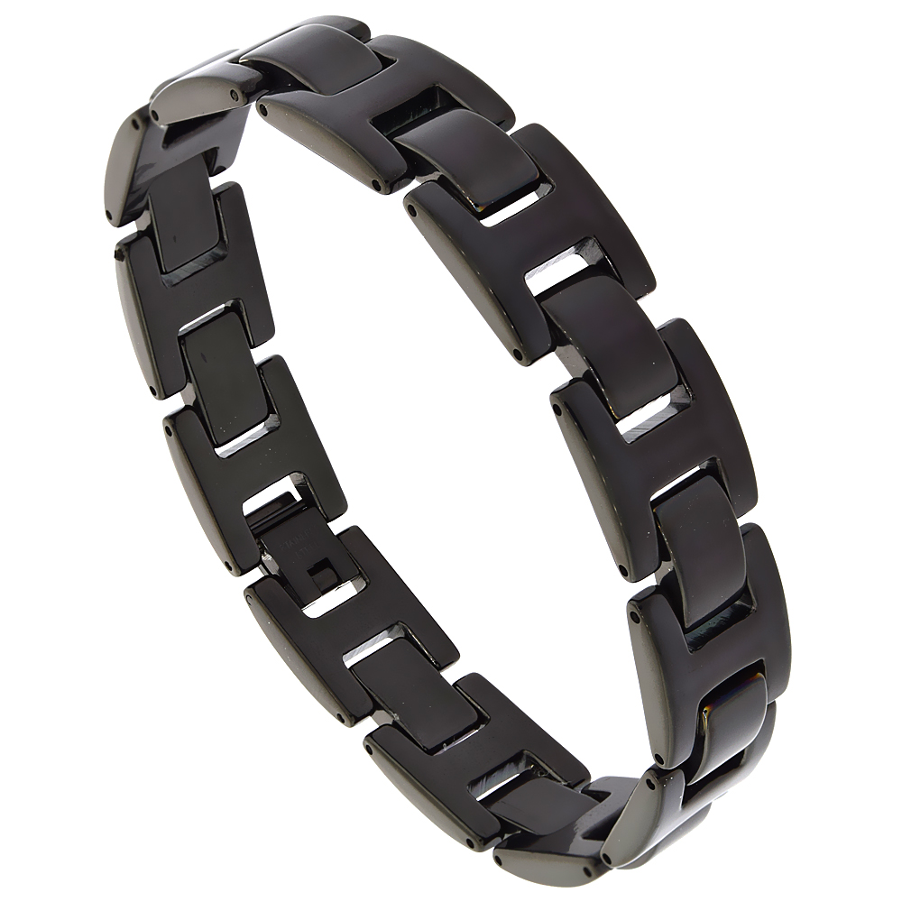 Stainless Steel Black Bar Bracelet 9/16 inch wide, 8.75 inches long