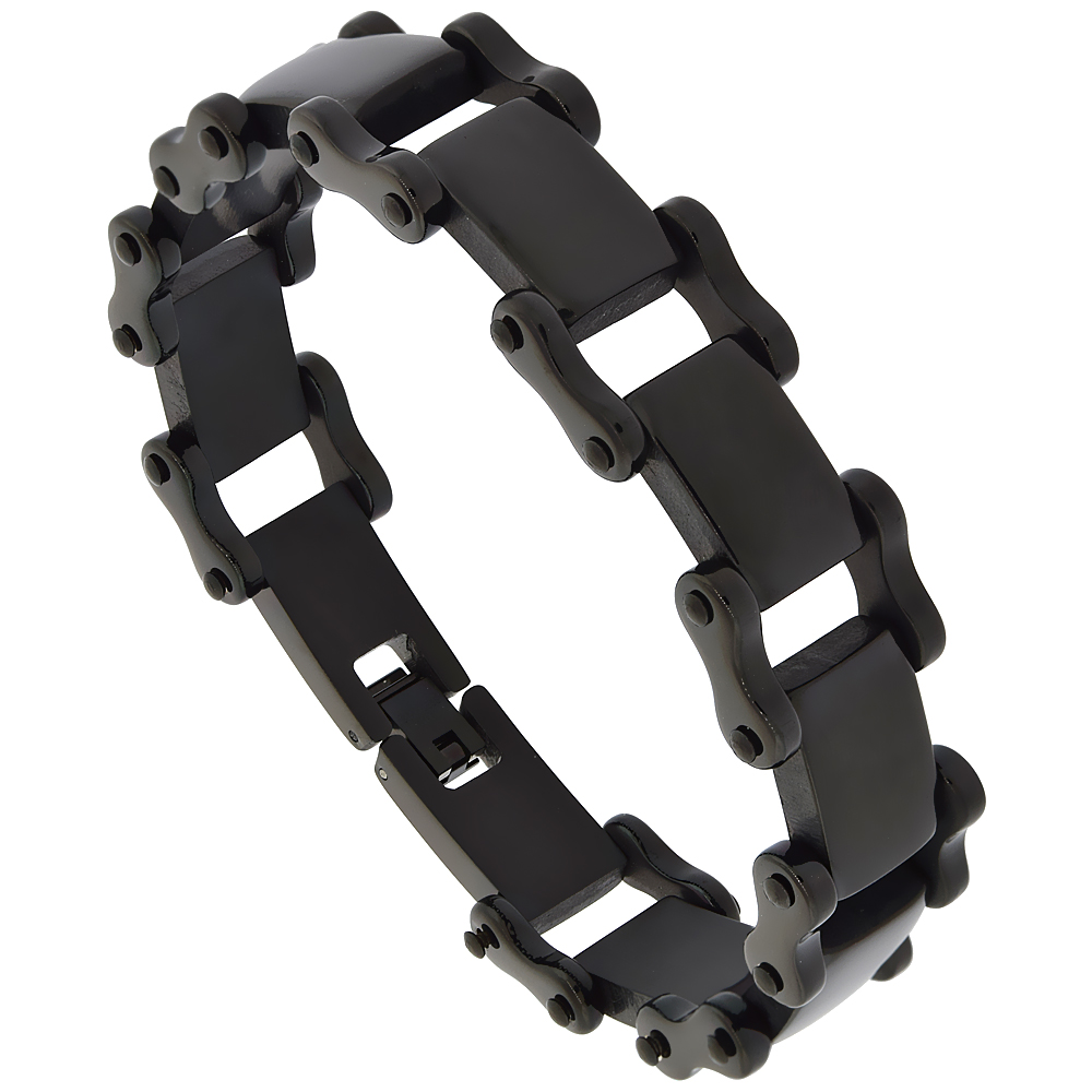 Stainless Steel Black Bicycle Link Bracelet 3/4 inch wide, 8.75 inches long