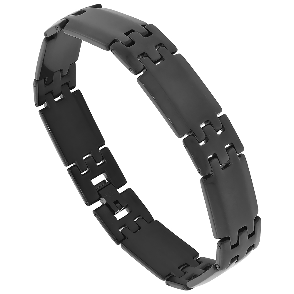 Stainless Steel Black Bar Bracelet 9/16 inch wide, 8.5 inches long