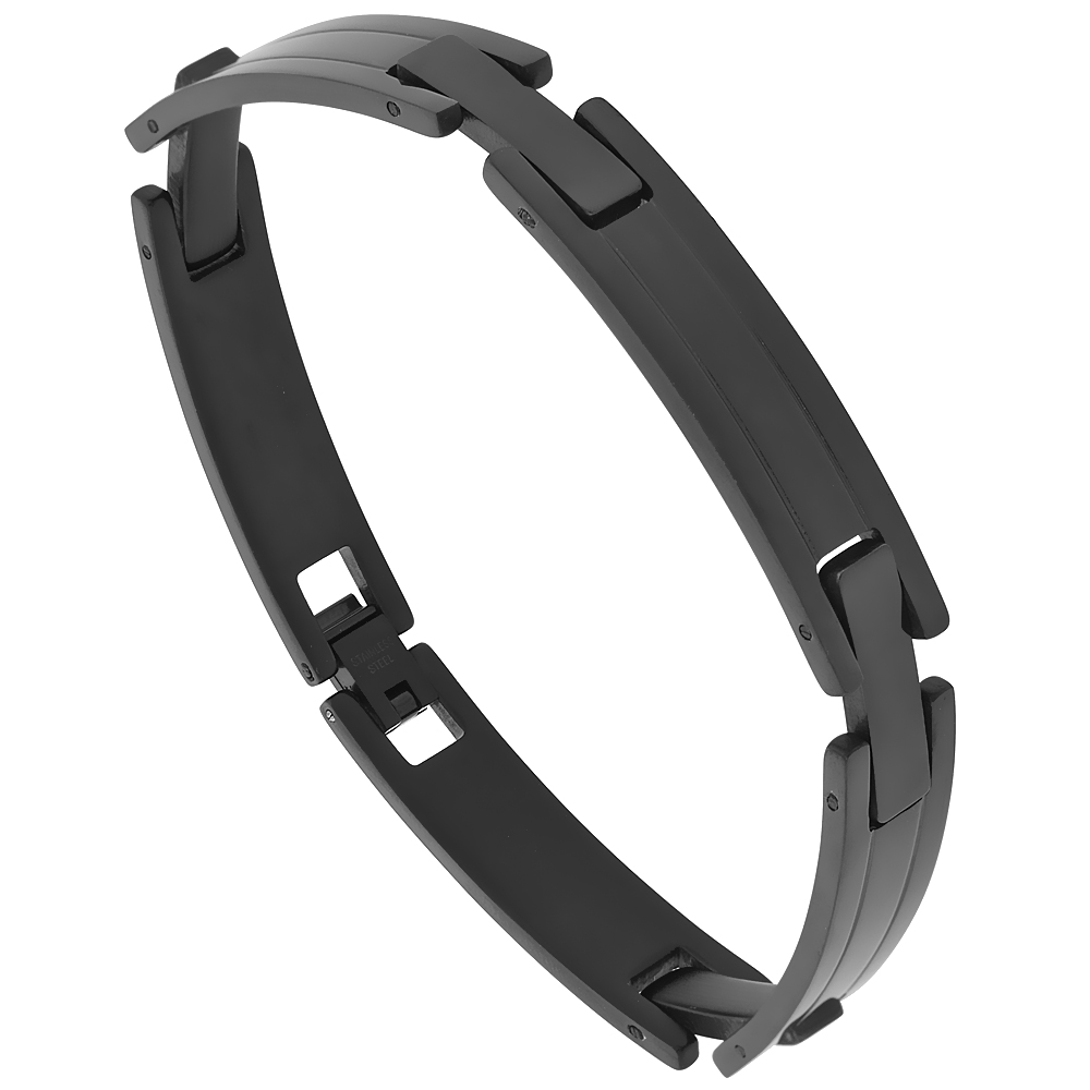 Stainless Steel Black Pantera Bracelet 3/8 inch wide, 8.5 inches long
