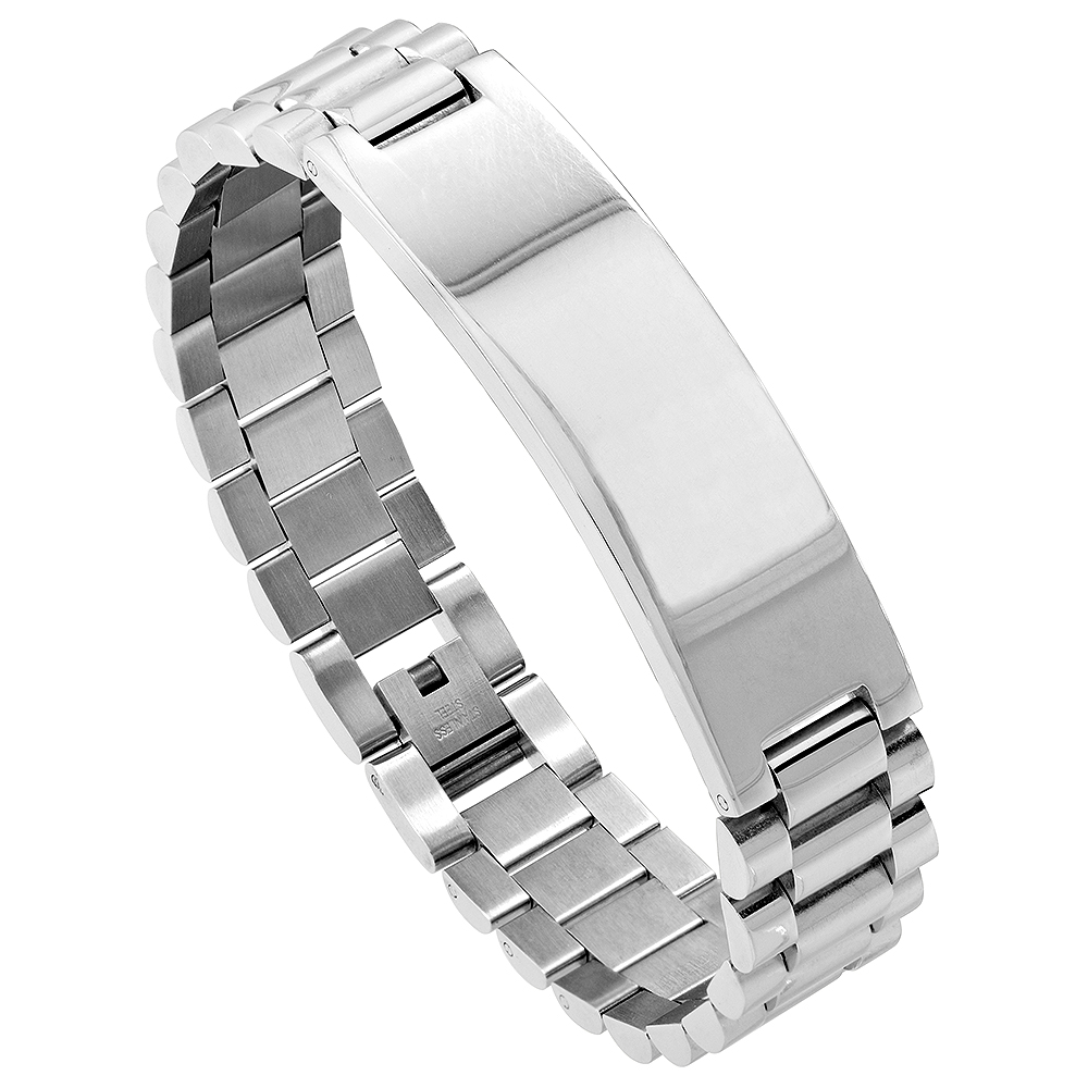 Stainless Steel Watch Band Identification Bracelet for Men Mirror Finish, 8.25 inch long