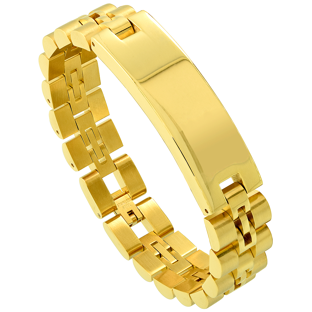 Stainless Steel Watch Band Identification Bracelet for Men Yellow Gold Plated, 8.25 inch long