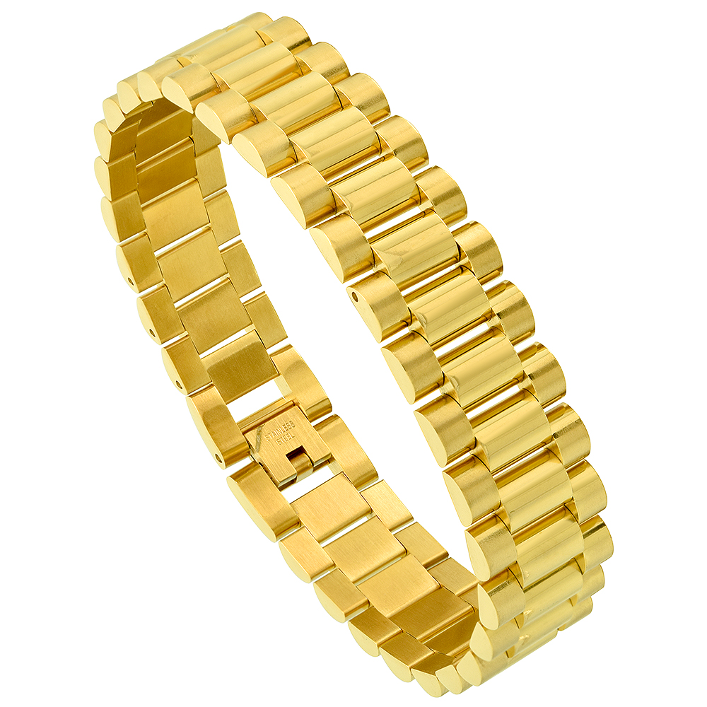 Stainless Steel Watch Band Bracelet for Men Yellow Gold Plated, 8.75 inch long
