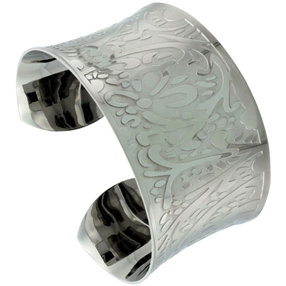 Stainless Wide Steel Cuff Bracelet for Women Concaved Etched Floral 1 1/2 inch wide, size 7.5 inch
