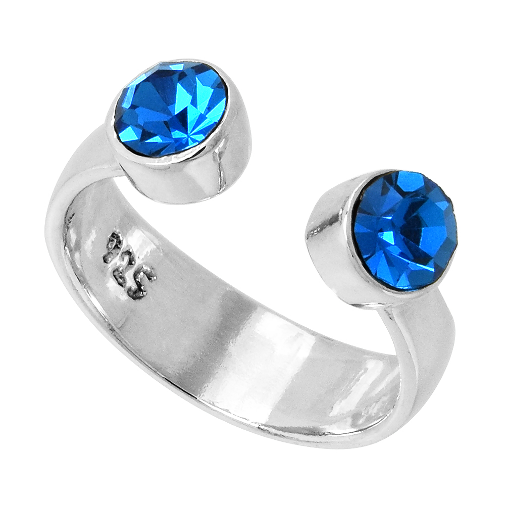 Blue Topaz-colored Crystals (December Birthstone) Adjustable Toe Ring / Kid's Ring in Sterling Silver, sizes 2 to 4