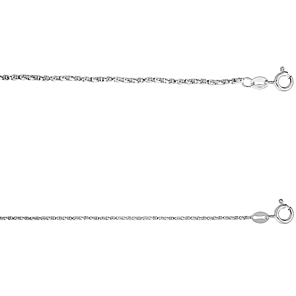 Sterling Silver 1mm - 1.5mm Twisted Box Chain Necklace for Women Nickel Free Italy, 16 -30 inch