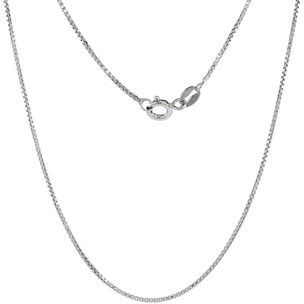 Sterling Silver Box Chain Necklaces & Bracelets 1mm Nickel Free Italy, Sizes 7 - 30 inch