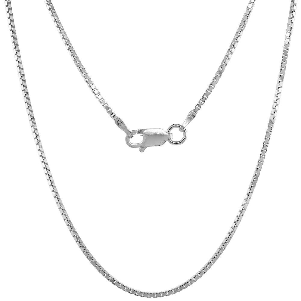 Sterling Silver BOX Chain Necklaces & Bracelets 1.2mm Square Cut tm Nickel Free Italy, sizes 7 - 30 inch