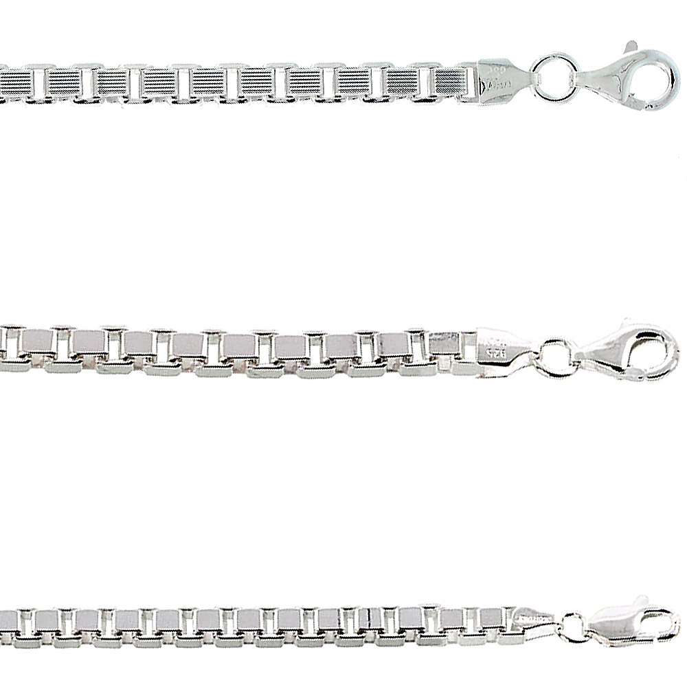 Sterling Silver BOX Chain Necklaces & Bracelets 3mm Square Cut Nickel Free Italy, sizes 7 - 30 inch