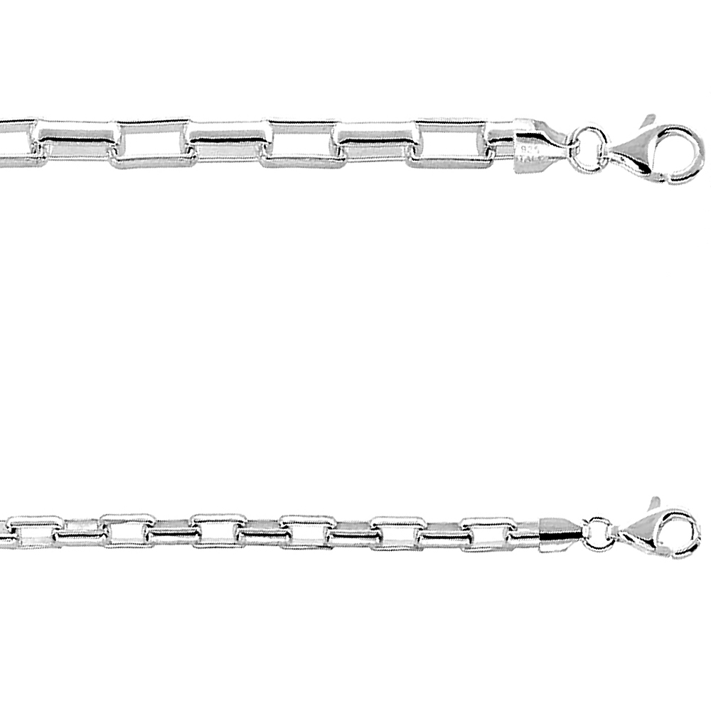 Sterling Silver 4-5mm Long Link Box Chain Bracelet for Men Medium Heavy Rounded Edges Nickel Free Italy,