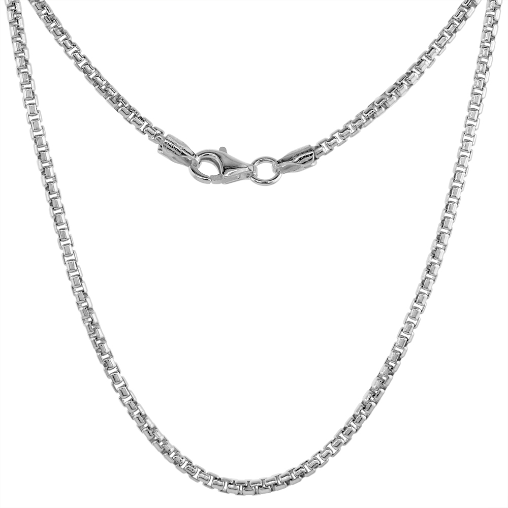Sterling Silver 2mm ROUND BOX Chain Necklace for Men & Women Medium Thin Nickel Free Italy, sizes 16 - 30 inch