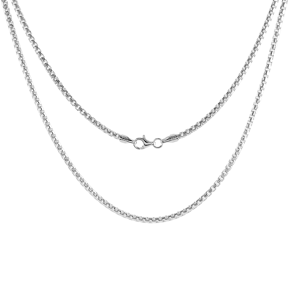Sterling Silver ROUND BOX Chain Necklace 2.5mm Medium Weight Nickel Free Italy, sizes 16 - 30 inch