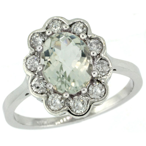 14k White Gold Halo Engagement Green Amethyst Engagement Ring Diamond Accents Oval 9x7mm, sizes 5 - 10