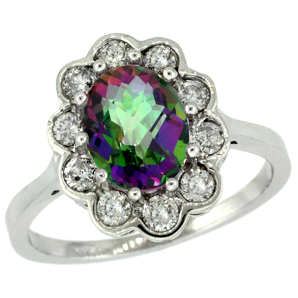 14k White Gold Halo Engagement Mystic Topaz Engagement Ring Diamond Accents Oval 9x7mm, sizes 5 - 10