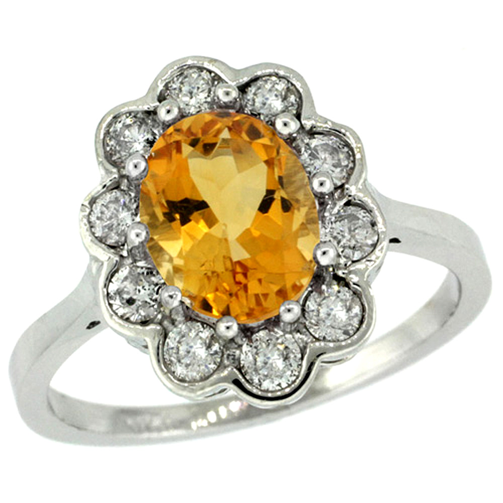 14k White Gold Halo Engagement Citrine Engagement Ring Diamond Accents Oval 9x7mm, sizes 5 - 10