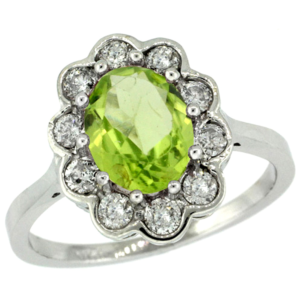 14k White Gold Halo Engagement Peridot Engagement Ring Diamond Accents Oval 9x7mm, sizes 5 - 10