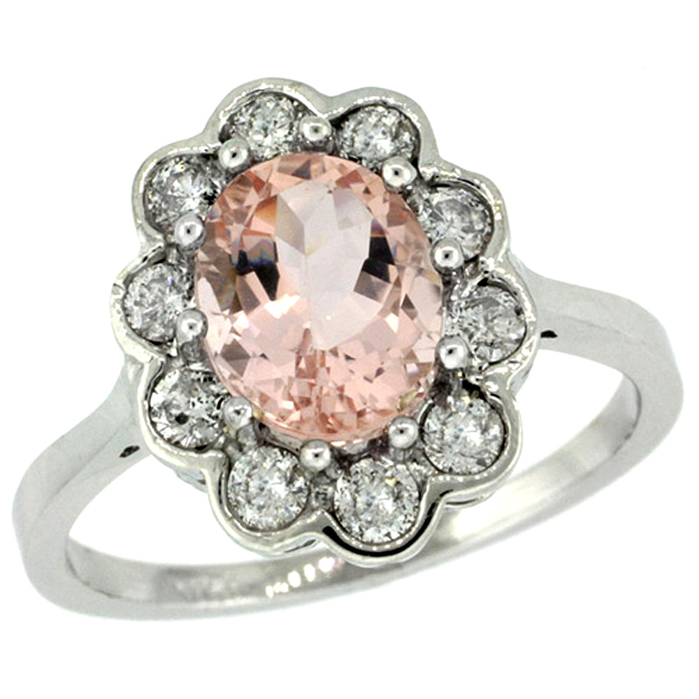 14k White Gold Halo Engagement Morganite Engagement Ring Diamond Accents Oval 9x7mm, sizes 5 - 10