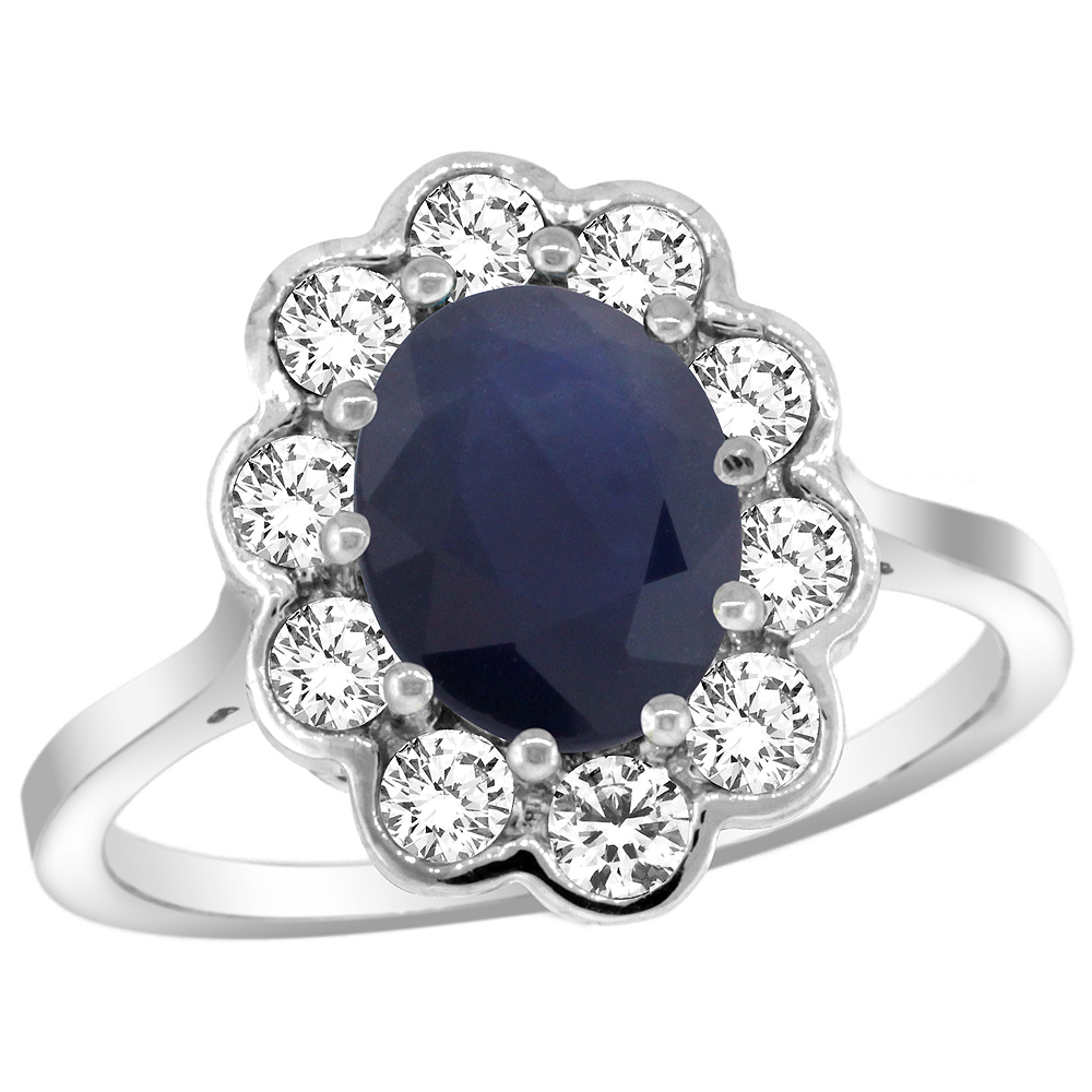 14k White Gold Halo Engagement Blue Sapphire Engagement Ring Diamond Accents Oval 9x7mm, sizes 5 - 10