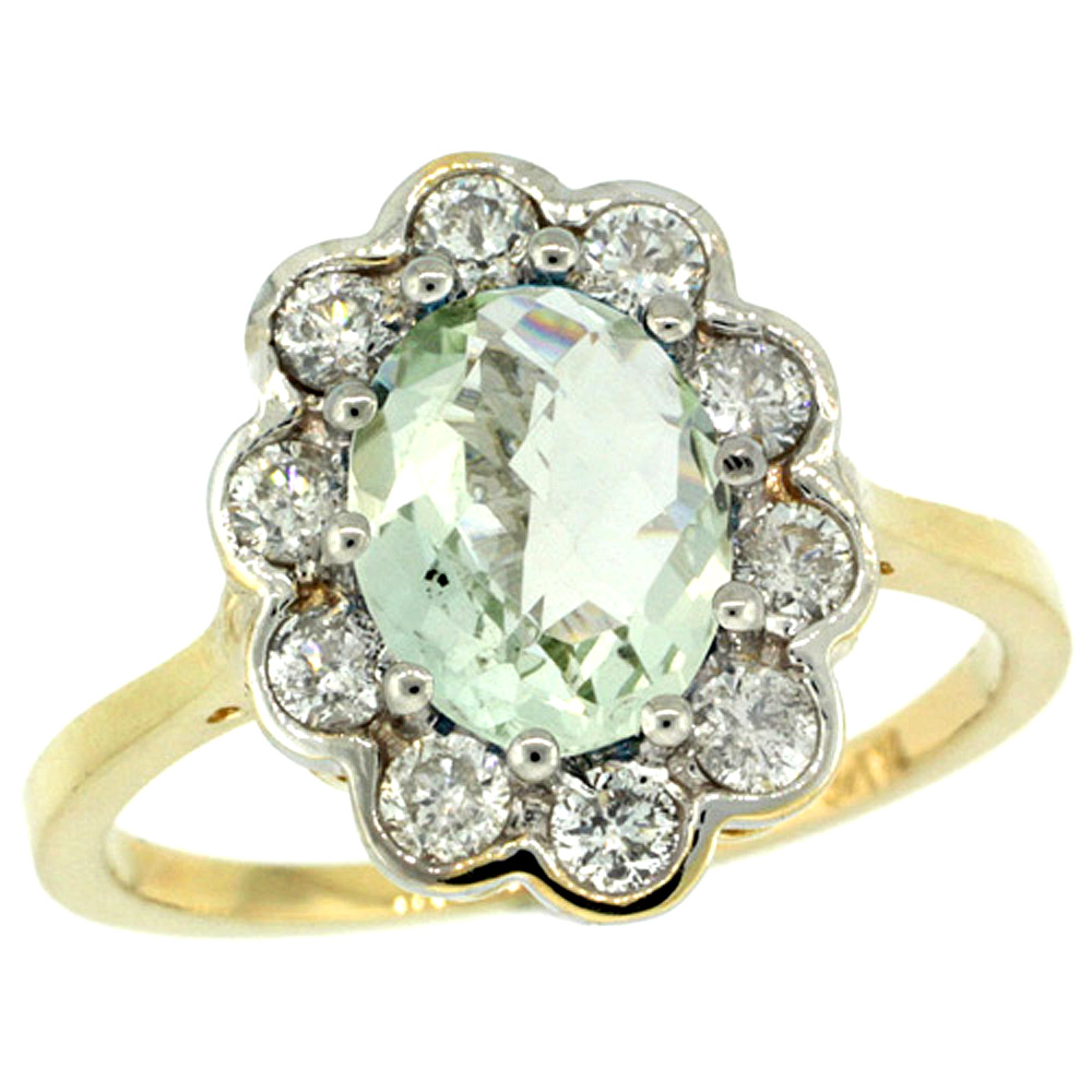 14k Yellow Gold Halo Engagement Green Amethyst Engagement Ring Diamond Accents Oval 9x7mm, sizes 5 - 10