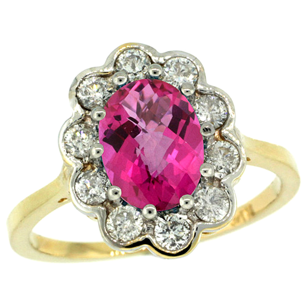 14k Yellow Gold Halo Engagement Pink Topaz Engagement Ring Diamond Accents Oval 9x7mm, sizes 5 - 10