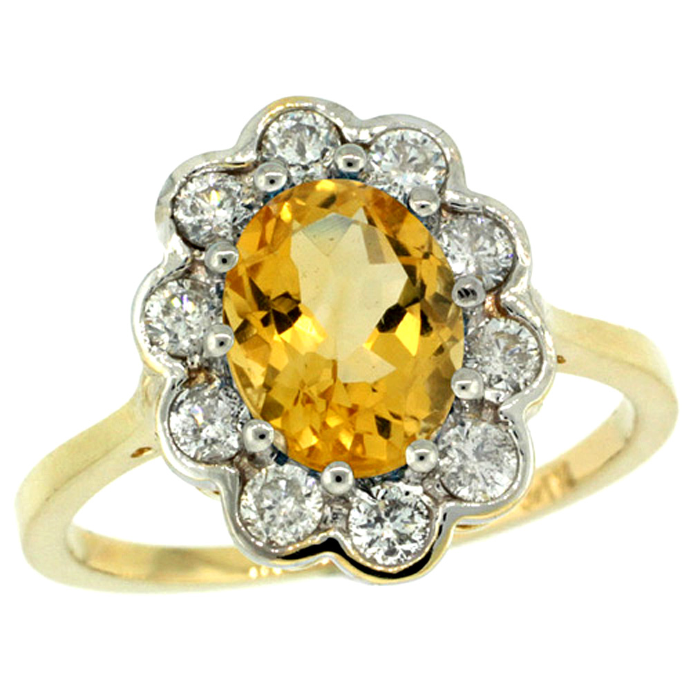 10K Yellow Gold Halo Engagement Citrine Engagement Ring Diamond Accents Oval 9x7mm, sizes 5 - 10