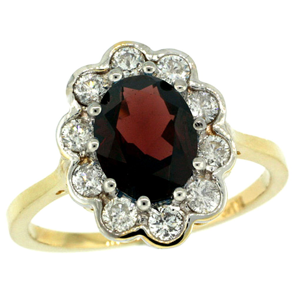 14k Yellow Gold Halo Engagement Garnet Engagement Ring Diamond Accents Oval 9x7mm, sizes 5 - 10