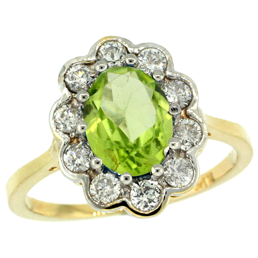 10K Yellow Gold Halo Engagement Peridot Engagement Ring Diamond Accents Oval 9x7mm, sizes 5 - 10