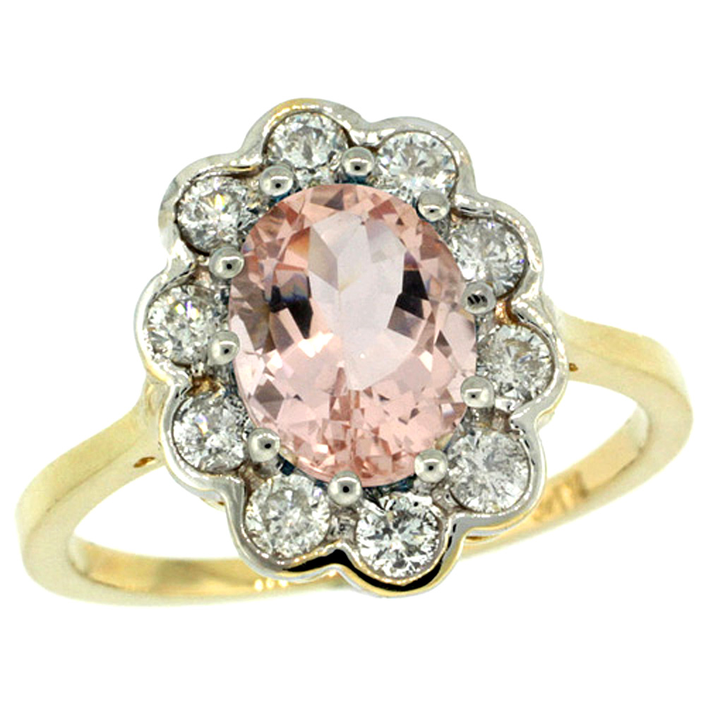 14k Yellow Gold Halo Engagement Morganite Engagement Ring Diamond Accents Oval 9x7mm, sizes 5 - 10