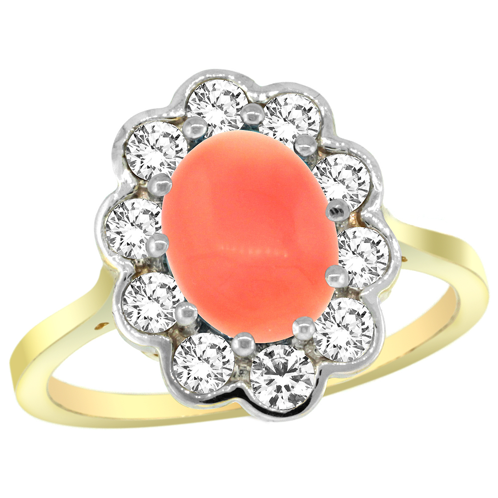 14k Yellow Gold Halo Engagement Coral Engagement Ring Diamond Accents Oval 9x7mm, sizes 5 - 10