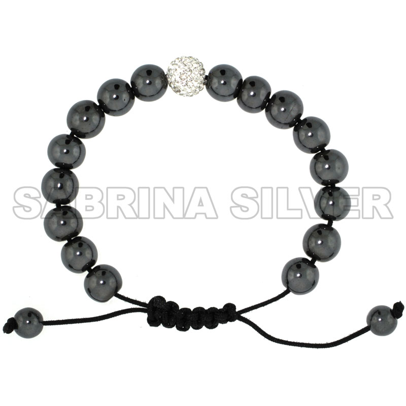 Adjustable Unisex Hematite Macrame Bead Bracelet w/ Crystal Disco Ball, 3/8 in. (10 mm) wide
