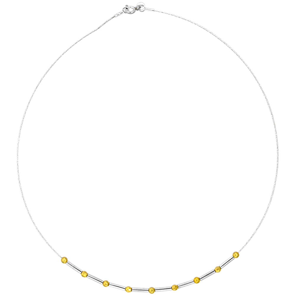 Sterling Silver Cable Wire Necklace Bar and Gold Bead Accents, 1/8 inch wide