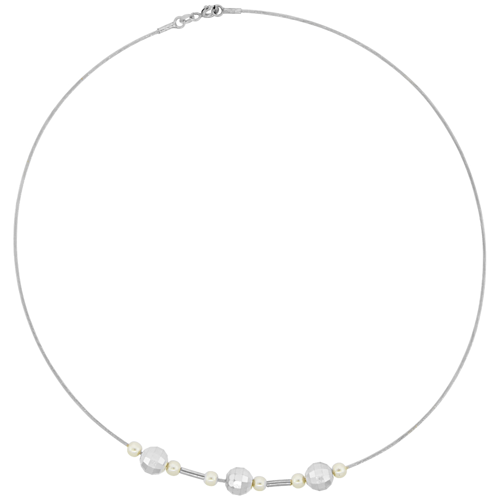 Sterling Silver Cable Wire Necklace Bead and Faux Pearl Accents, 5/16 inch wide