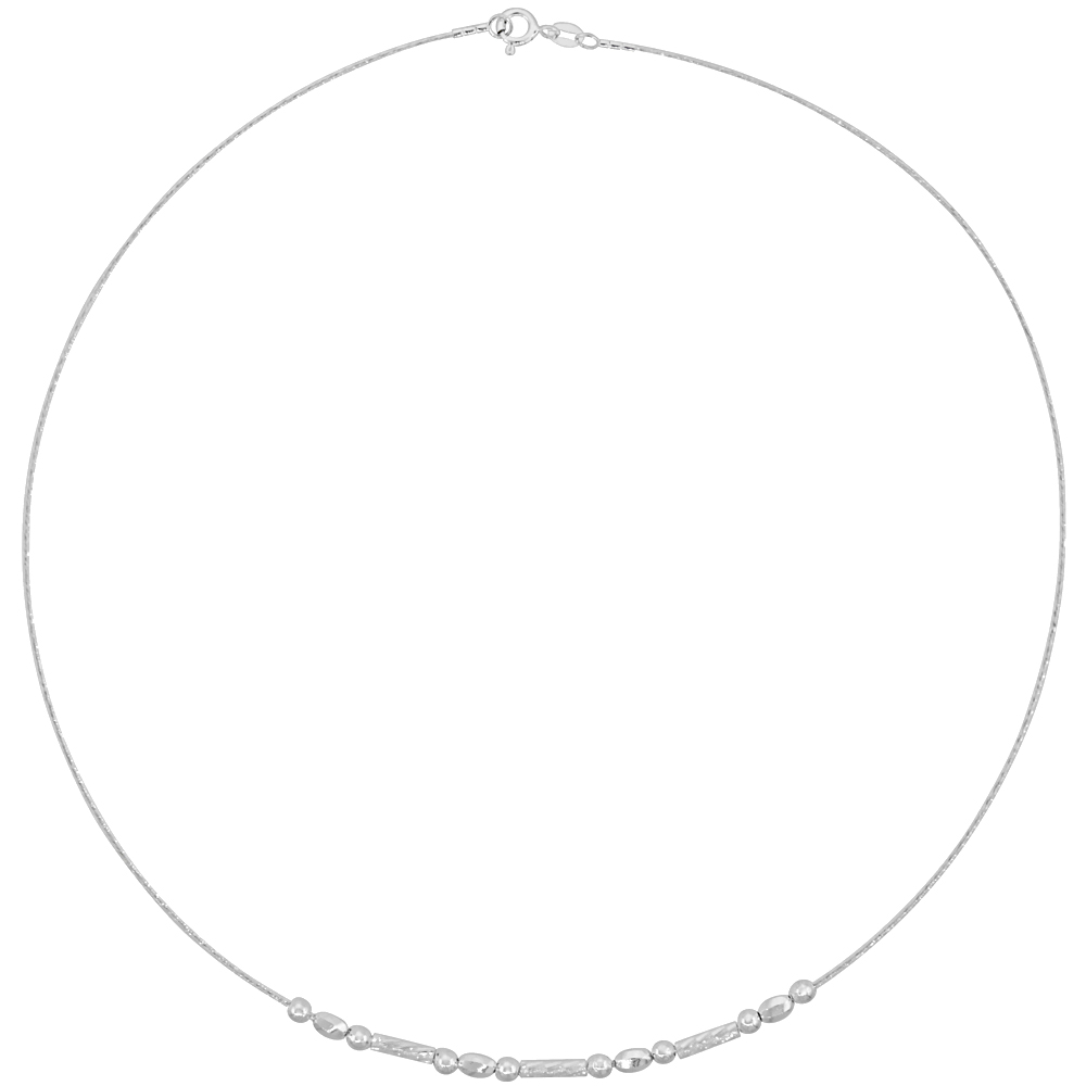 Sterling Silver Cable Wire Necklace Bead and Diamond cut Bar Accents, 1/8 inch wide