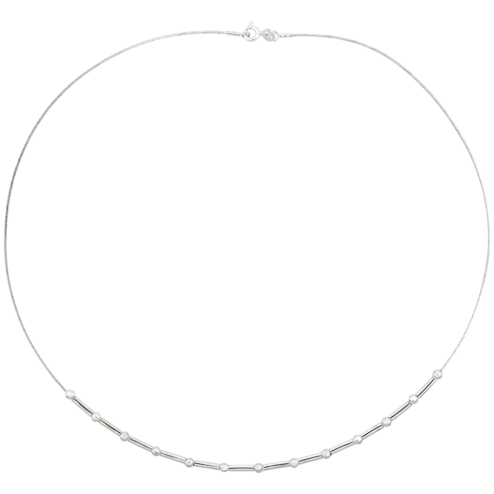 Sterling Silver Cable Wire Necklace Bar and Bead Accents, 1/8 inch wide