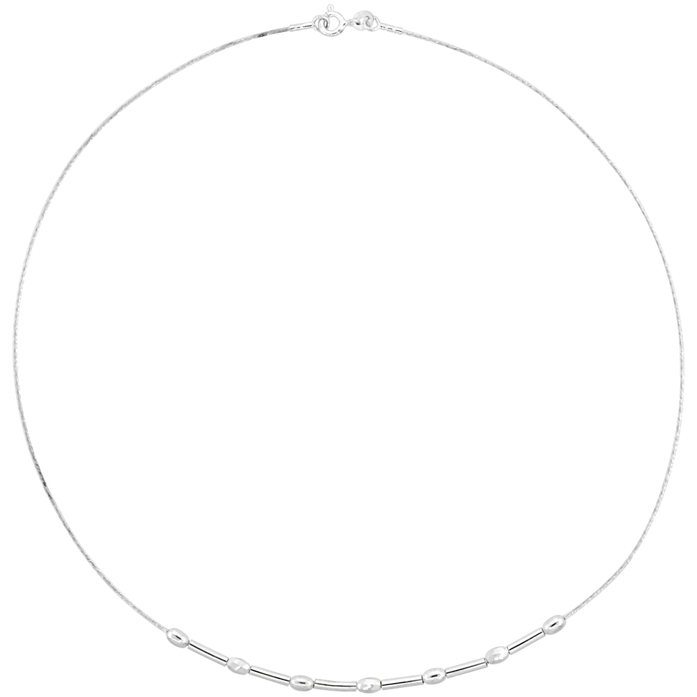 Sterling Silver Cable Wire Necklace Bar and Oval Bead Accents, 1/8 inch wide