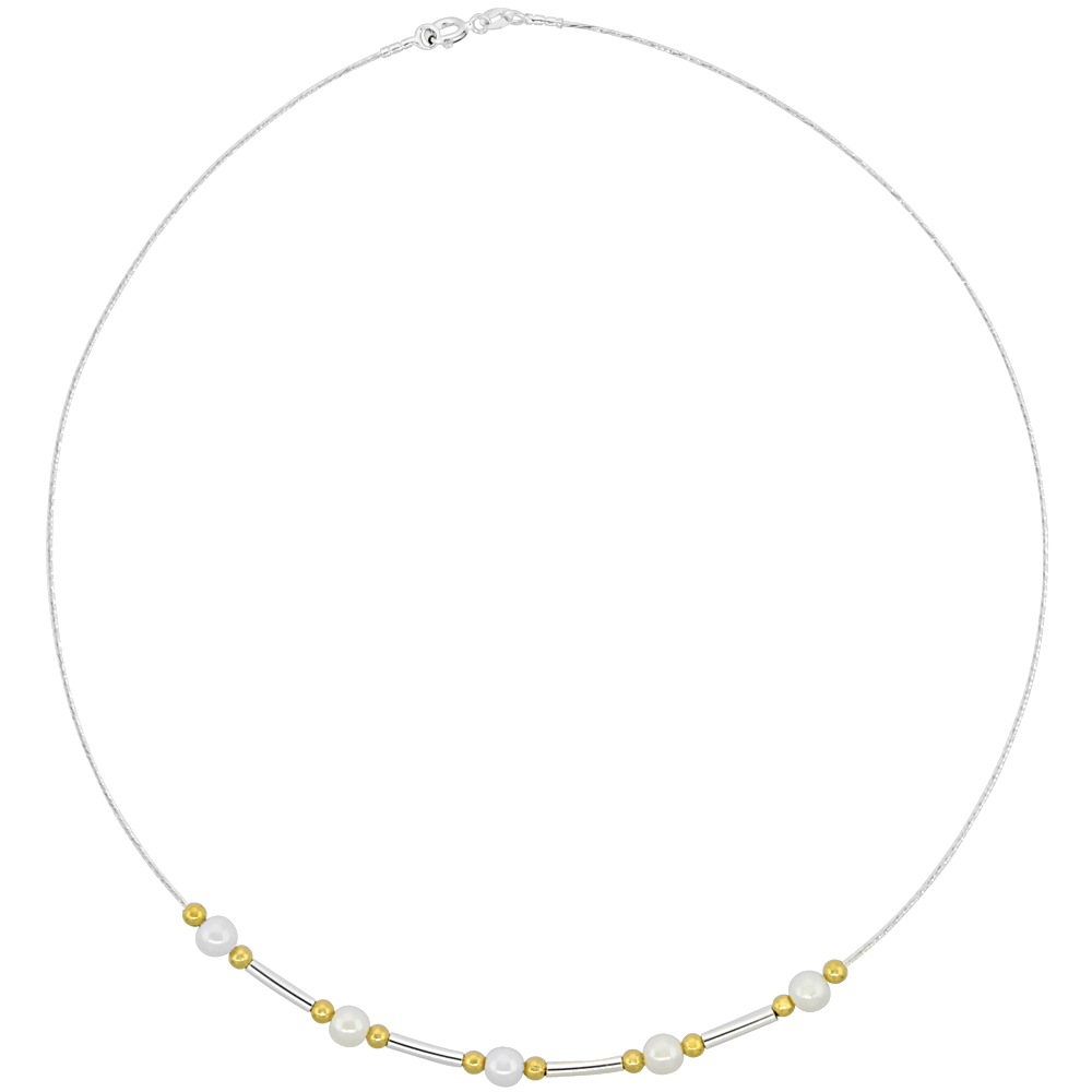 Sterling Silver Cable Wire Necklace Bar, Gold Bead and Faux Pearl Accents, 3/16 inch wide