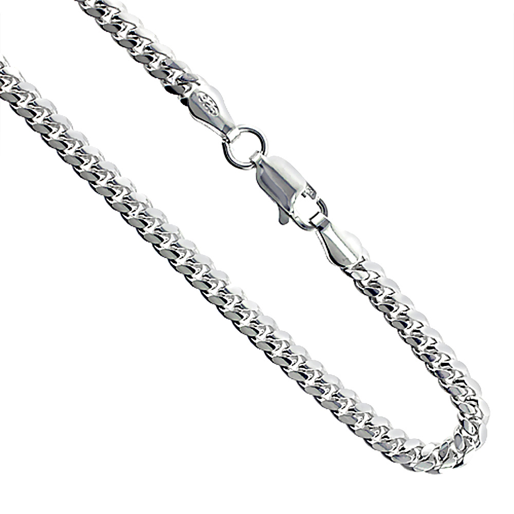 Sterling Silver 3.4mm Miami Cuban Link Chain Necklaces & Bracelets Domed Surface sizes 20 - 30 inch