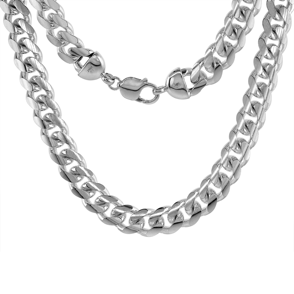 12mm Sterling Silver Miami Cuban Chain Link Necklaces & Bracelets Domed Surface Rhodium, sizes 8 - 30 inch