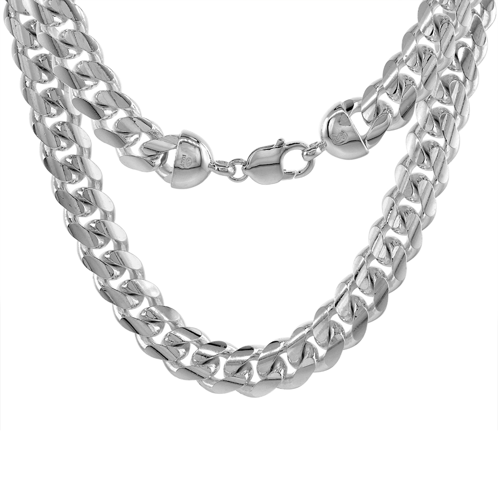 13mm Sterling Silver Miami Cuban Chain Link Necklaces & Bracelets Domed Surface Rhodium, sizes 8 - 30 inch